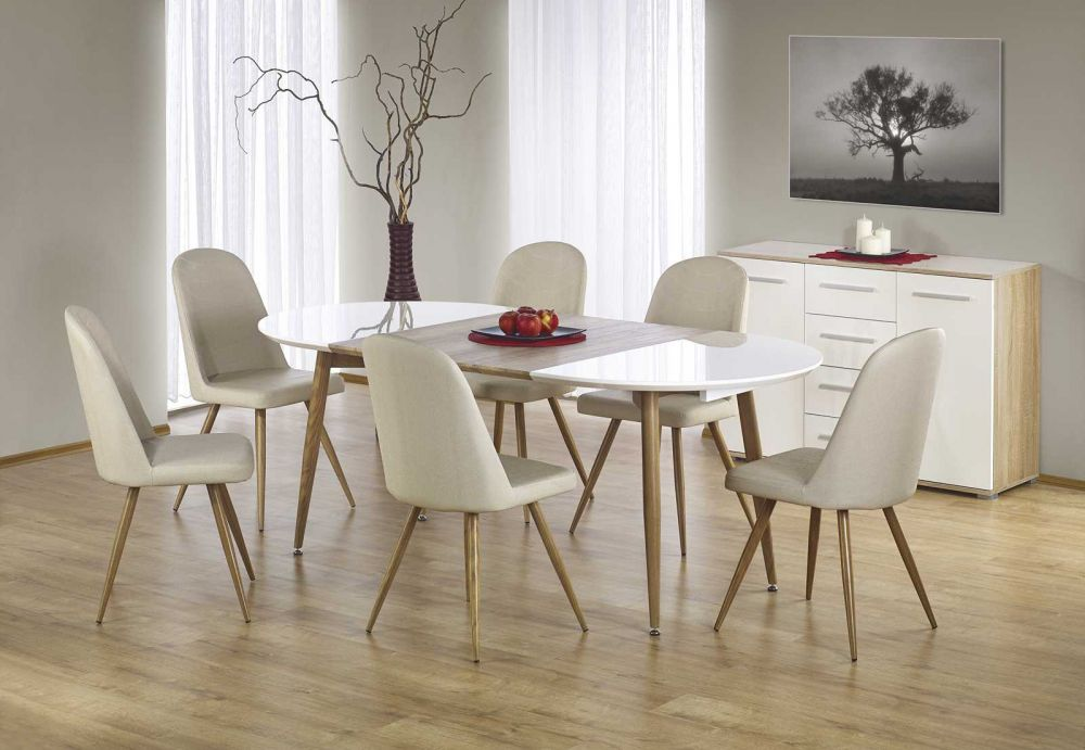 Edward st rozk adany ciemny d b sonoma bia y nogi for Table extensible sorrento